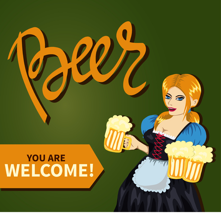 oktober: Young pretty girl in bavarian costume with mugs of beer. Hand lettering quote Beer. Illustration