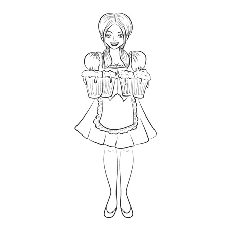 Young pretty girl wearing bavarian costume holds mugs of beer. Vector Illustration