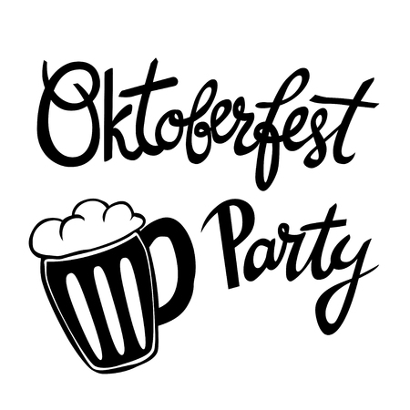 Oktoberfest Party. Hand-lettering typographic poster. Monochrome art. Hand-written text with illustration of mug of beer. Illustration