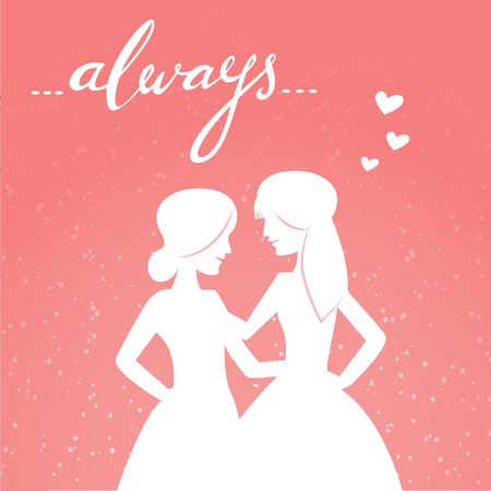 homosexual: Romantic vector illustration of happy same-sex couple and hand-lettered word always. Valentines Day card, wedding and love illustration. Homosexual relationship.