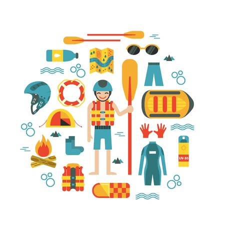 rafter: Vector illustration with rafting and camping equipment - vest, round-bouy, rafts, camping fire, helmet, tent, stopwatch etc. Flat design. Could be used for websites, advertising, banners and flyers