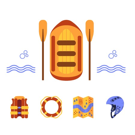 Rafting equipment elements. Vector icon set. Vest, round-bouy, raft, map, helmet, oars. Fully editable. Flat design. On isolated background. Could be used both for web and paper.