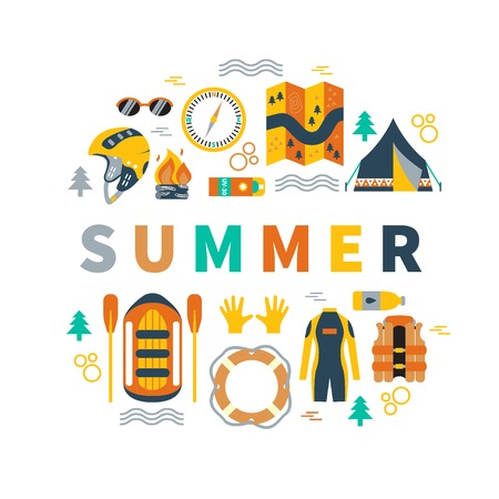 bobber: Summer round vector illustration with rafting and camping equipment - vest, round-bouy, rafts, camping fire, helmet, tent, stopwatch etc. Flat design. Could be used for websites, advertising, banners and flyers