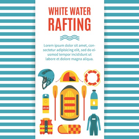 Colourful vertical cover template for white water rafting with isolated striped background and place for text. Vector illustration, flat design. Icons for sleaping bag, vest, tent, raft and oars, helmet, lifebuoy, wet suit etc.