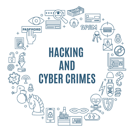 computer viruses: Hacking and cyber crime - linear round vector template with icons of gadgets, hackers activities, cracking and fraud, spam, viruses  etc. Illustration for hacker attack or computer security.