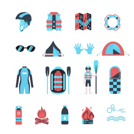 Vector icon set for rafting and camping activities. Vest, round-bouy, raft, camping fire, helmet, oar, clothing, tools, tent etc. Fully editable. Flat design. On isolated background. Could be used for web and paper. Illustration