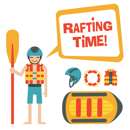 Happy rafter with speech bubble and quote Rafting time and vector set of rafting and camping icons -  raft, vest, round-bouy, helmet, . Fully editable. On isolated background. Could be used as infographic elements or for web design, banners, flyers etc.