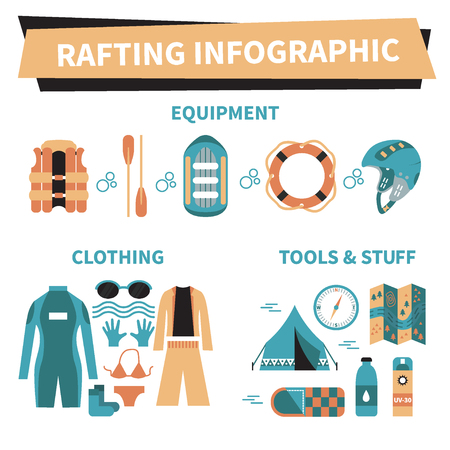 Rafting infographic elements. Vector icon set. Vest, round-bouy, raft, camping fire, helmet, oar, clothing, tools, tent etc. Fully editable. Flat design. On isolated background. Could be used for web and paper. Illustration