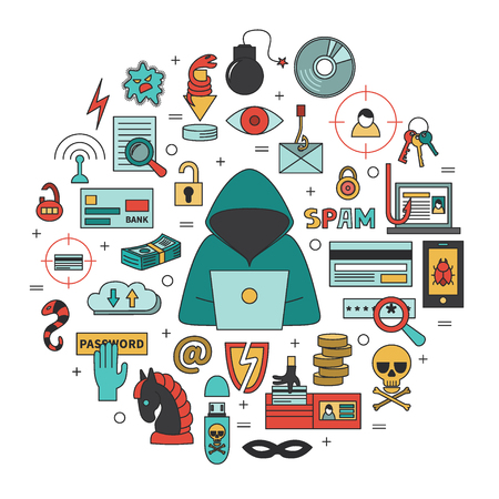 Hacking and cyber crime - Flat round vector template with icons of gadgets, hacker's activities, cracking and fraud, spam, viruses  etc. Illustration for hacker attack or computer security. Çizim