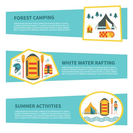 rafter: Modern set of horizontal web banners  for rafting, camping or other summer activities. Flat design. Colorful vector illustration with safety ring, tent, campfire, raft, map etc. For web design and advertisement Illustration