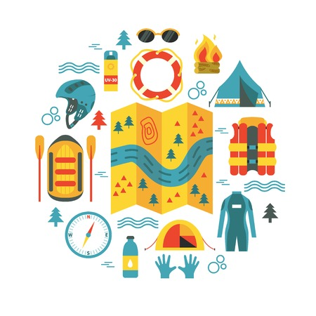 Adventure. Round vector illustration with rafting and camping equipment - map, raft, vest, round-bouy, camping fire, helmet, tent, stopwatch etc. Flat design. Could be used for websites, advertising, banners and flyers Illustration