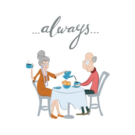 mature adult: Cute Valentines Day card with lovely and happy senior couple and hand-lettered word always. Vector illustration. Cartoon style. Elder caucasian man and woman spending time together.