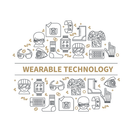 Wearable tech. Vector illustration for smart gadgets and technologies of future. Circle of color thin line icons and header. Modern background for banners, poster, advertising, blogs, magazines, web or mobile app.
