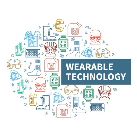 augmentation: Wearable tech. Vector illustration for smart gadgets and technologies of future. Circle of color thin line icons and header. Modern background for banners, poster, advertising, blogs, magazines, web or mobile app.