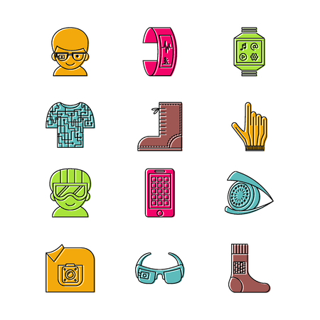 Set of vector icons for wearable technologies. Smart glasses, fitness tracker, smart phone, e-textile cloting, smart shoes, watch, virtual reality helmet, camera, gloves.  Thin line design with offset colors.  Good choice for infographic, web-design, broc
