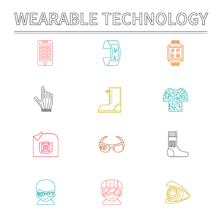 Set of vector icons for wearable technologies. Smart glasses, fitness tracker, smart phone, e-textile cloting, smart shoes, watch, virtual reality helmet, camera, gloves. Color thin line design. Good choice for infographic, web-design, brochure etc. Illusztráció