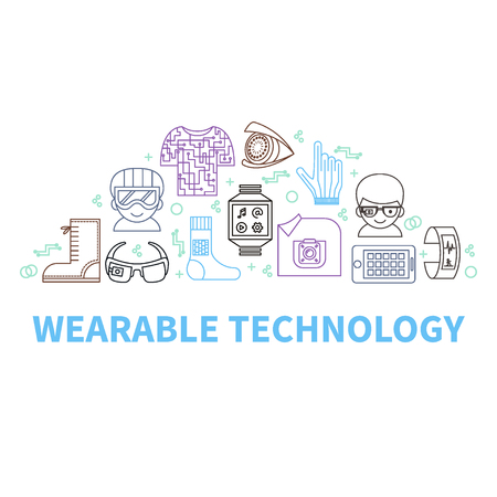 Wearable tech. Vector illustration for smart gadgets and technologies of future. Semi-circle of color thin line icons and header. Modern background for banners, poster, advertising, blogs, magazines, web or mobile app. Stock Vector - 79833165