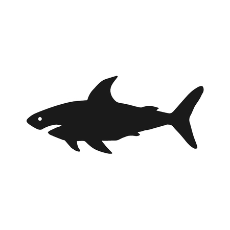 Vector illustration of shark based on hand-drawn sketch. Black silhouette isolated on white background. Organic marine carnivore silhouette. Perfect for t-shirt design, posters, banner, web-design etc. Illustration