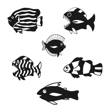 underwater fishes: Set of fish silhouettes. Black contour isolated on white. Vector illustration based on hand drawn sketch. Great choice for book design, web pages, infographic, t-shirt and apparel design. Illustration