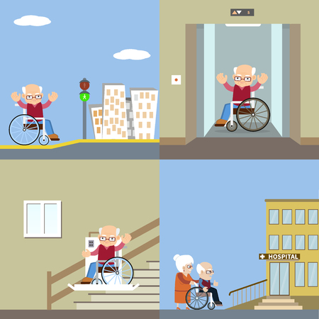 Set of vector illustration for barrier free environment for physically challenged people - a senior man in a wheelchair with ramps, using the elevator and automatic lifting device. Flat design.