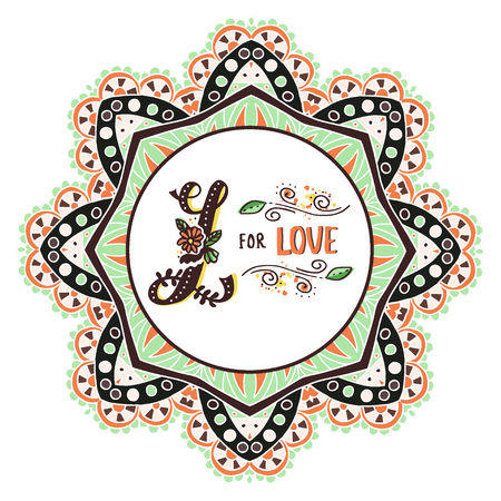 L for love. Hand drawn flourished capital letter L and decoration elements. Vector art. Great choice for Valentines Day romantic greeting card or wedding design collection Illustration