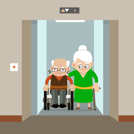 An old woman and a senior man in a wheelchair using elevator. Vector illustration. Flat style. Concept for barrier free environment for physically challenged people.
