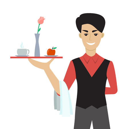 Ilustración vectorial de joven caucásicos - un camarero o un mayordomo - la celebración de una bandeja con una taza de cofffee o té, flor y una manzana. Personaje de dibujos animados plano. Desayuno en la cama. Foto de archivo - 79864389