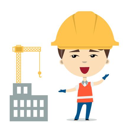 Flatvectorillustratie van grappige beeldverhaalarbeider of aannemer die bouwvakkers en veiligheidsvest dragen dichtbij het gebouw in aanbouw. Geïsoleerd op wit. Ontwerpelement voor advertenties, web of kinderboek Stock Illustratie