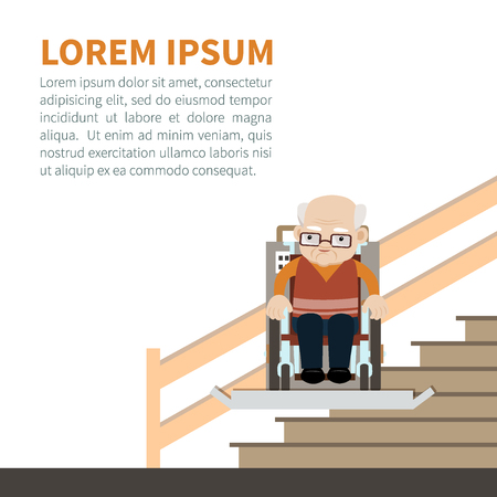Senior caucasian man in a wheelchair using stairlift. Vector illustration. Flat style. The automatic chair lifting an elder to upstair. Concept for barrier free environment for physically challenged people. Ilustração