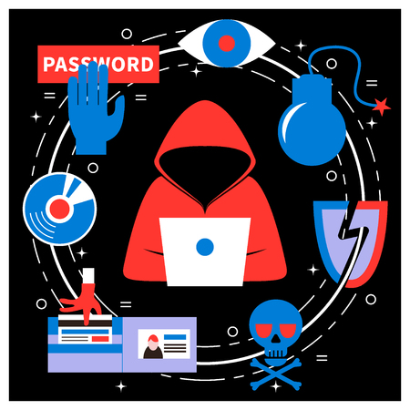 Hacking and cyber crime - vector illustration with icons of gadgets and hackers activities. Flat style. For web and paper ads. Hacker attack, spam, phishing concept. Vettoriali
