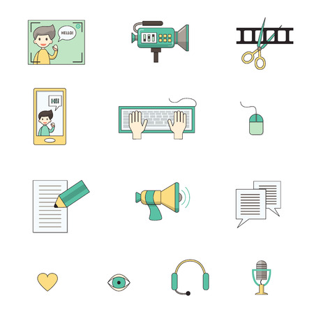 Modern set of vector icons for video blog and digital online media. Vlog and social media infographic elements. For web design, mobile app and e-learning advertising. Thin line with colors. Isolated on white. Reklamní fotografie - 80171152