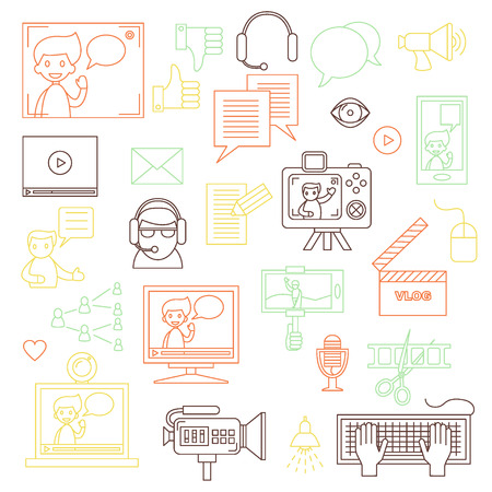 Modern set of vector icons for video blog and digital online media. Vlog and social media infographic elements. For web design, mobile app and e-learning advertising. Thin line design. Isolated on white. Ilustrace