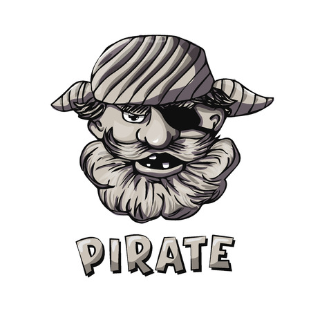 based: Funny bearded pirate with eye patch. Cartoon character. Monochrome vector illustration based on hand drawn art. Great choice for mascot, pirate party invitation or book illustration.