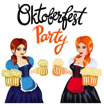 oktober: Young pretty girls in bavarian costume with mugs of beer. Handlettering quote Oktoberfest Party. Vector art, cartoon style, isolated on white. Octoberfest illustration. Illustration