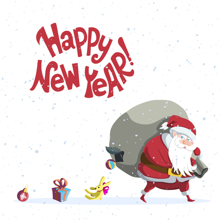 Happy New Year. Vector illustration with hand lettering quote and Santa Claus losing his gifts through hole in sack. Great choice for gift or greeting cards, poster or banner. Illustration