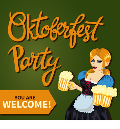 Young pretty girl in bavarian costume with mugs of beer. Handlettering quote Oktoberfest Party. Vector art, cartoon style. Octoberfest illustration. Could be used as ads, poster, flyer etc Illustration