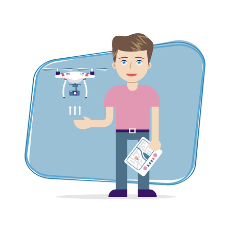 Young boy controling unmanned aerial vechicle (quadrocopter). Air drone hovering in the sky above hand of guy. Vector illustration, flat design. For game, education, entertaiment, sport, science.