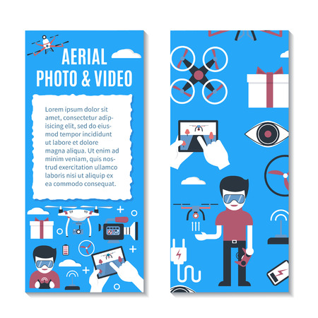 Vector Vertical Banner Or Flyer Template For Air Drone Delivery