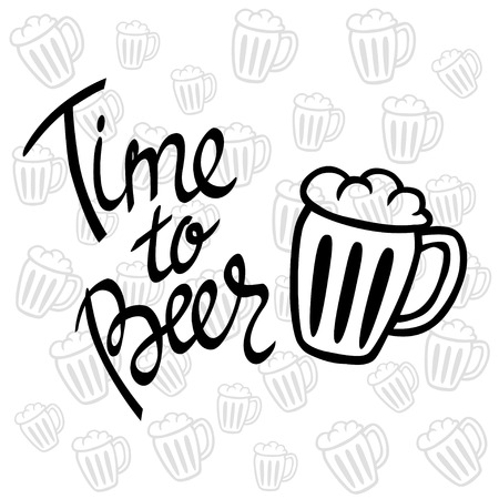 fully: Time to Beer. Hand-lettering typographic poster. Monochrome vector art. Hand-written text with illustration of beer mug. Fully editable. Could be used for Oktoberfest advertising, posters, t-shirts design, flyers etc