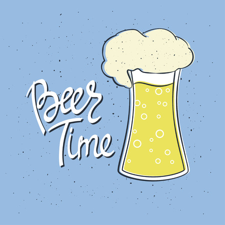 Beer Time. Hand-lettering typographic poster. Colorful vector art. Hand-written text with illustration of glass of beer. Could be used for Oktoberfest advertising, posters, t-shirts design, flyers etc