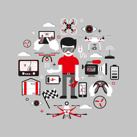 Vector redondo concepto gráfico con aviones no tripulados, controles remotos y otros elementos. Diseño moderno, elementos planos. Ilustración para publicidad, pancartas; diseño web, broshures, etc. Foto de archivo - 80237301