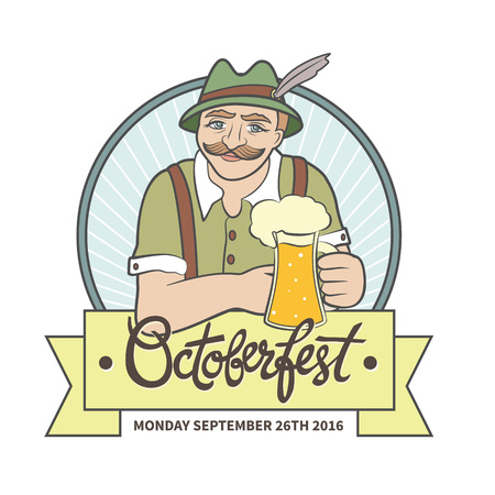Bavarian man with moustache and alpine hat holds beer mug. Vector art in cartoon style with banner and hand-lettering text.  Octoberfest illustration, beer label with ribbon and place for text. Illustration