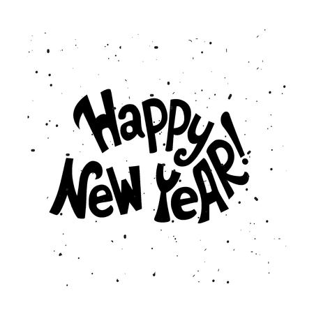 Happy New Year.Hand Lettering Quote. Vector Illustration. Great ...