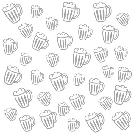 oktober: Cute monochrome pattern with mugs of beer. Vector illustration. Cartoon style. Grey on white. Good choice for backgrounds, fabric design, beer festival advertising.