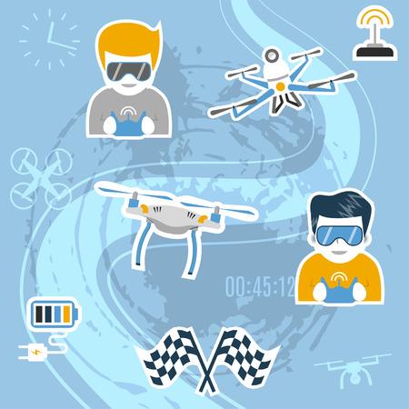 Drone deporte. Ilustración vectorial con drones de aire, los operadores con gafas y la celebración de controles remotos, banderas, etc Diseño plano. Concepto para las carreras de quadcopter, la competencia, el estilo libre. Foto de archivo - 80237412