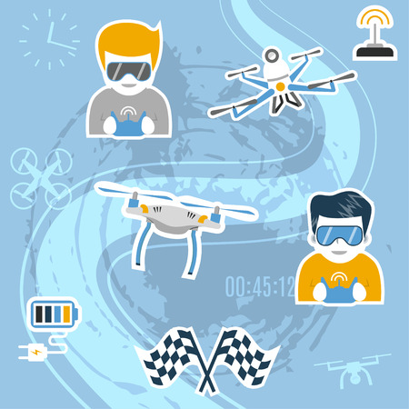 racing: Drone sport. Vector illustration with air drones, operators wearing glasses and holding remote controles, flags etc. Flat design. Concept for quadcopter racing, competition, freestyle. Illustration