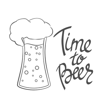 Time to Beer. Hand-lettering typographic poster. Monochrome vector art. Hand-written text with illustration of beer glass. Isolated on white. Could be used for Oktoberfest advertising, posters, t-shirts design, flyers etc