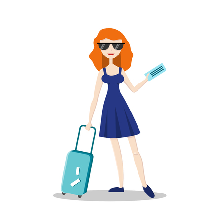 Smiling young girl with travel luggage isolated on white. Flat character. Vector illustration in cartoon style. Summer vacation concept.