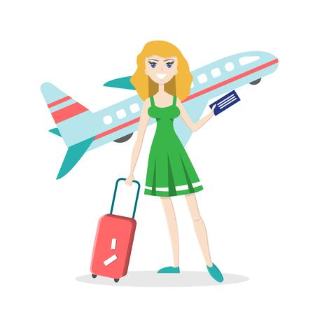 飛行機で孤立した背景に旅行の荷物を持つ少女の笑みを浮かべてください。フラットな文字。ベクトル イラスト漫画のスタイルで。夏の休暇の概念。 写真素材 - 80930196