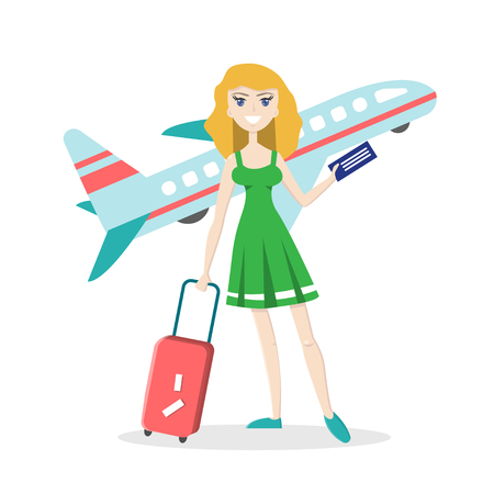 Smiling young girl with travel luggage on isolated background with airplane. Flat character. Vector illustration in cartoon style. Summer vacation concept.